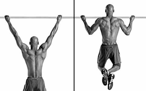 wide grip pullups back